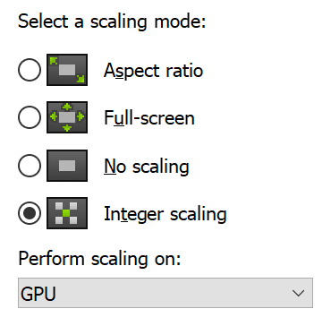 Integer-ratio scaling with no blur (pixel-perfect)